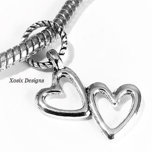 European Double Heart Charm Bead Pendant
